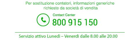 Per sostituzione contatori, informazioni generiche, richieste da società di vendita