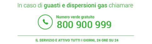 Banner con Numero da chiamare in caso di Guasti o Dispersioni di Gas - 800 900 999